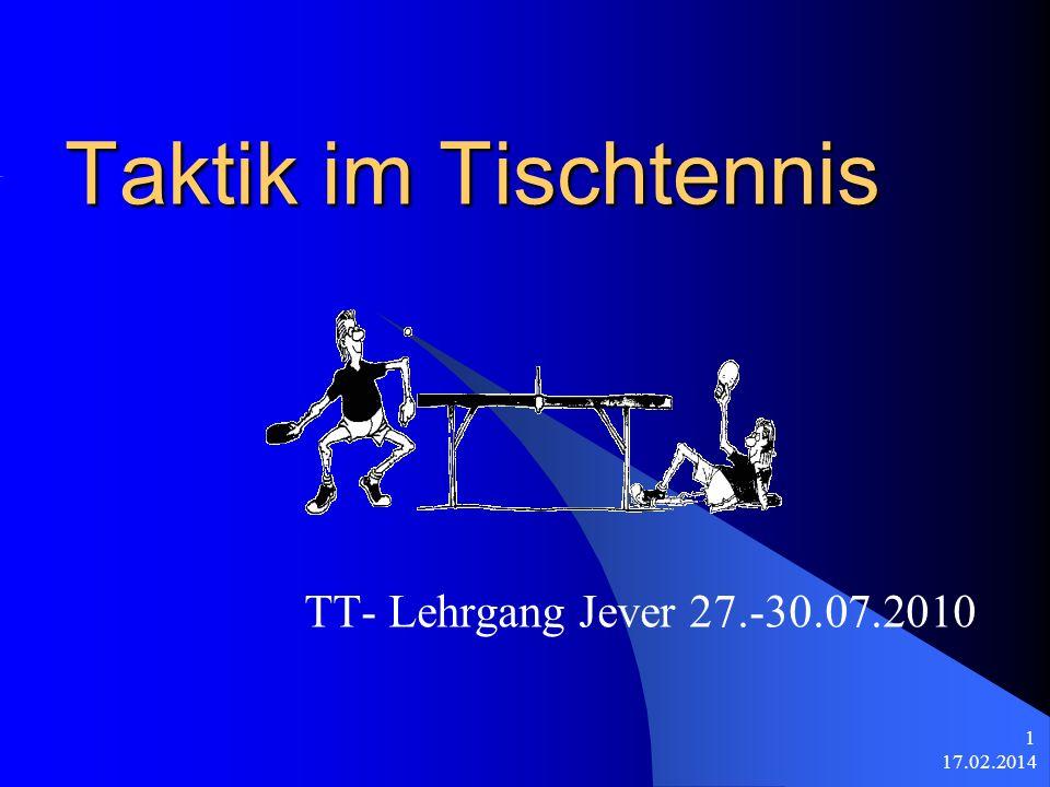 Taktik im Tischtennis TT- Lehrgang Jever 27.-30.07.2010 28.03.2017