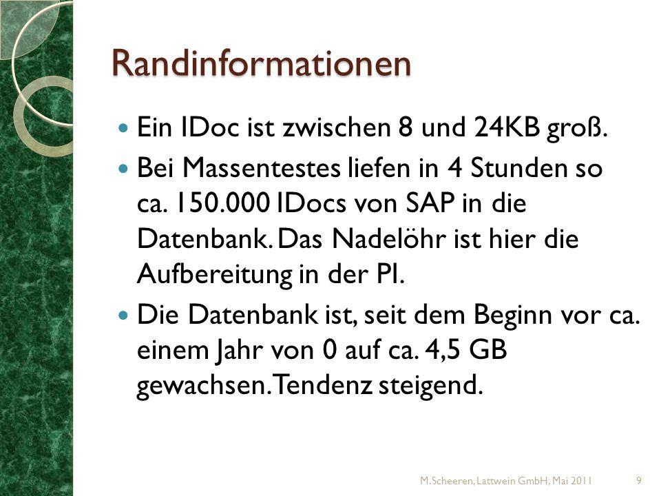 Randinformationen Ein IDoc ist zwischen 8 und 24KB groß.