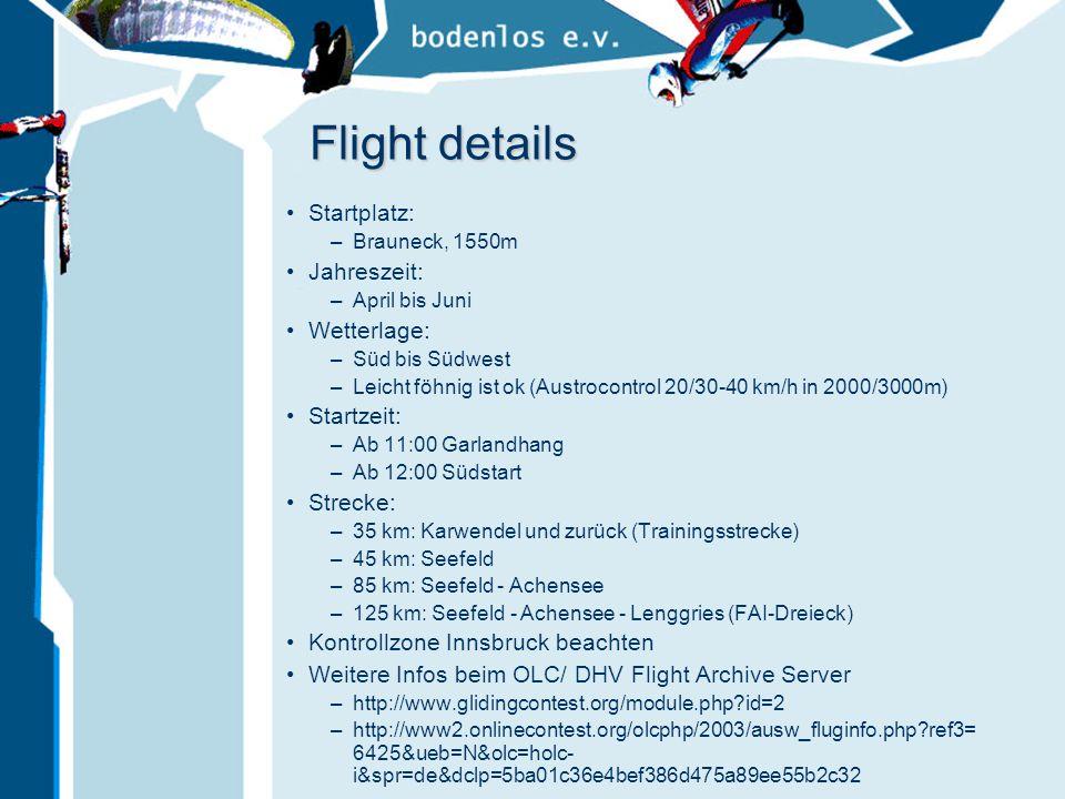 Flight details Startplatz: Jahreszeit: Wetterlage: Startzeit: Strecke: