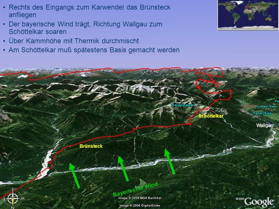 Rechts des Eingangs zum Karwendel das Brünsteck anfliegen