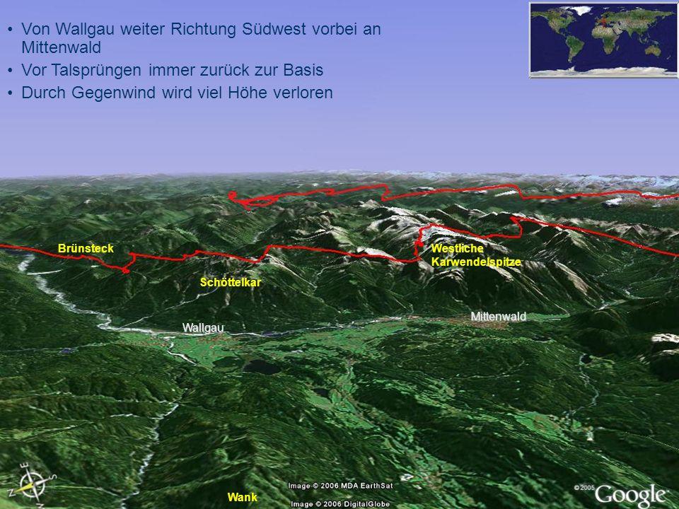 Von Wallgau weiter Richtung Südwest vorbei an Mittenwald
