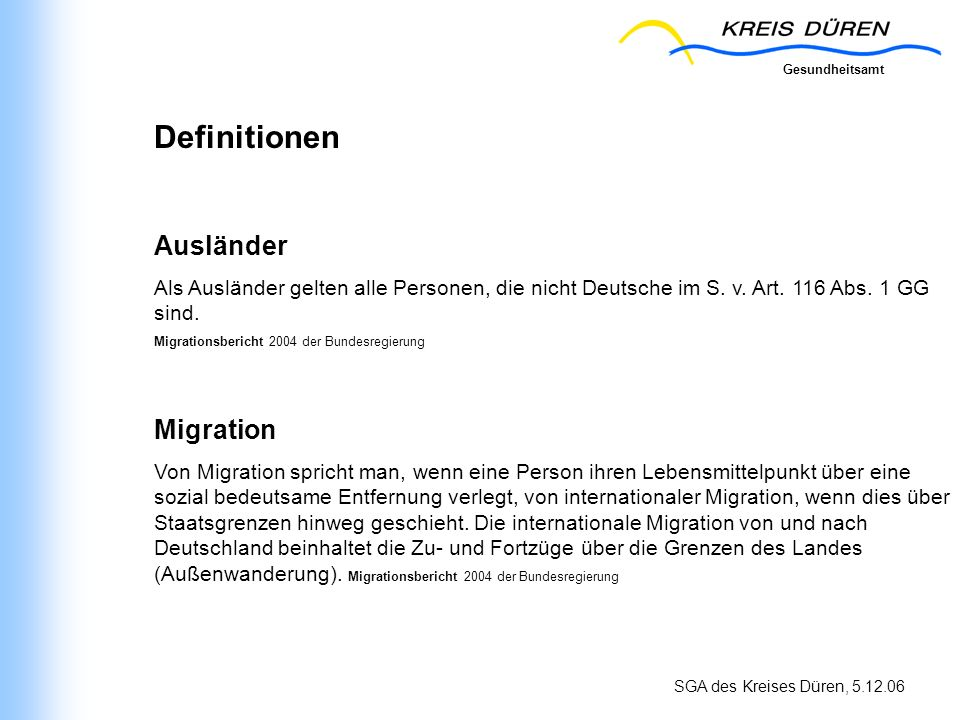 Definitionen Ausländer Migration
