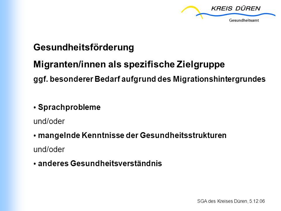 Gesundheitsförderung Migranten/innen als spezifische Zielgruppe