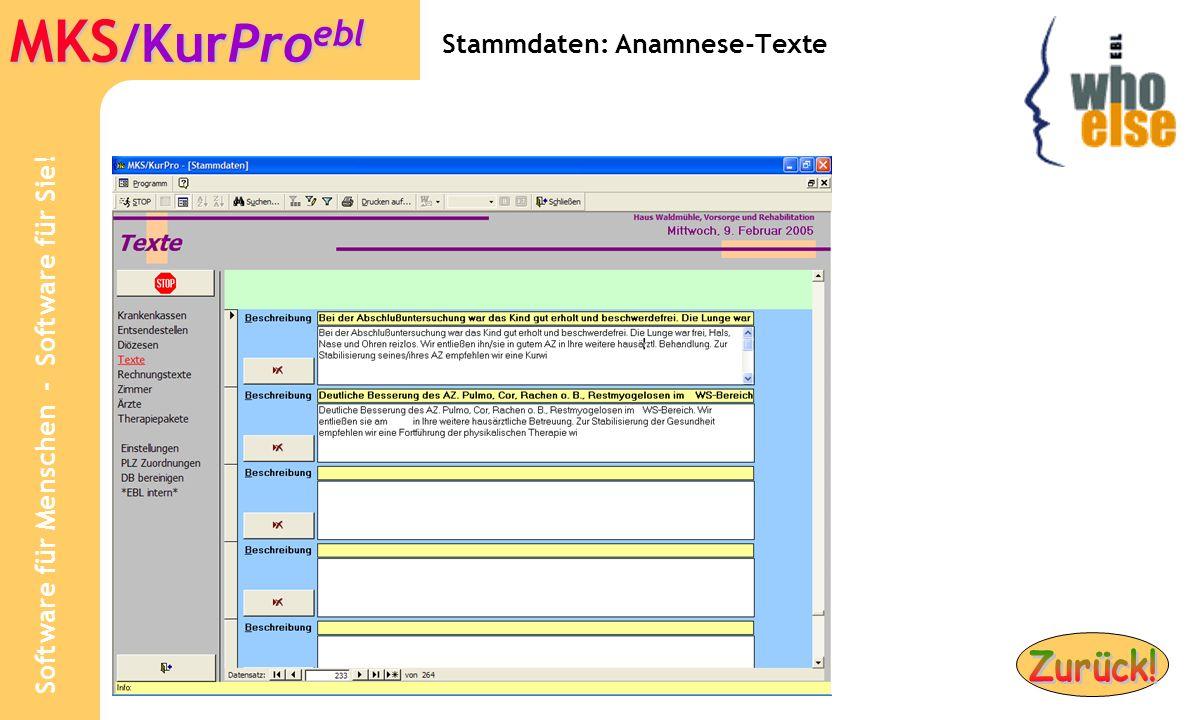 Stammdaten: Anamnese-Texte