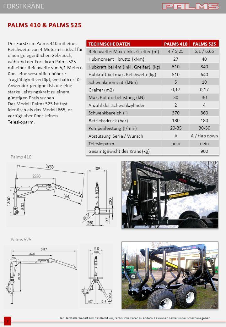 FORSTKRÄNE PALMS 410 & PALMS 525
