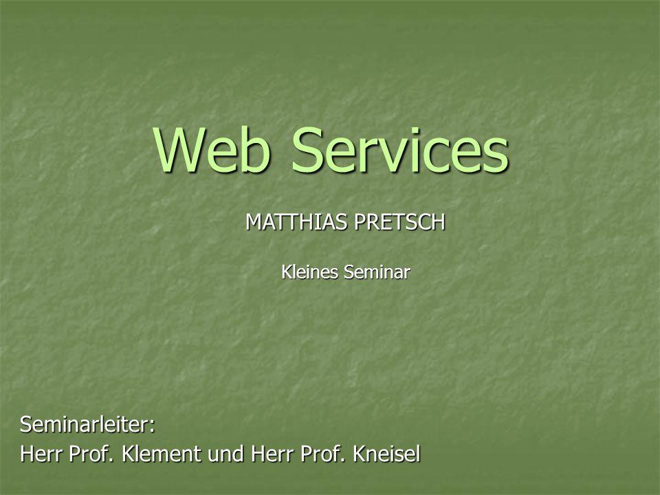Seminarleiter: Herr Prof. Klement und Herr Prof. Kneisel