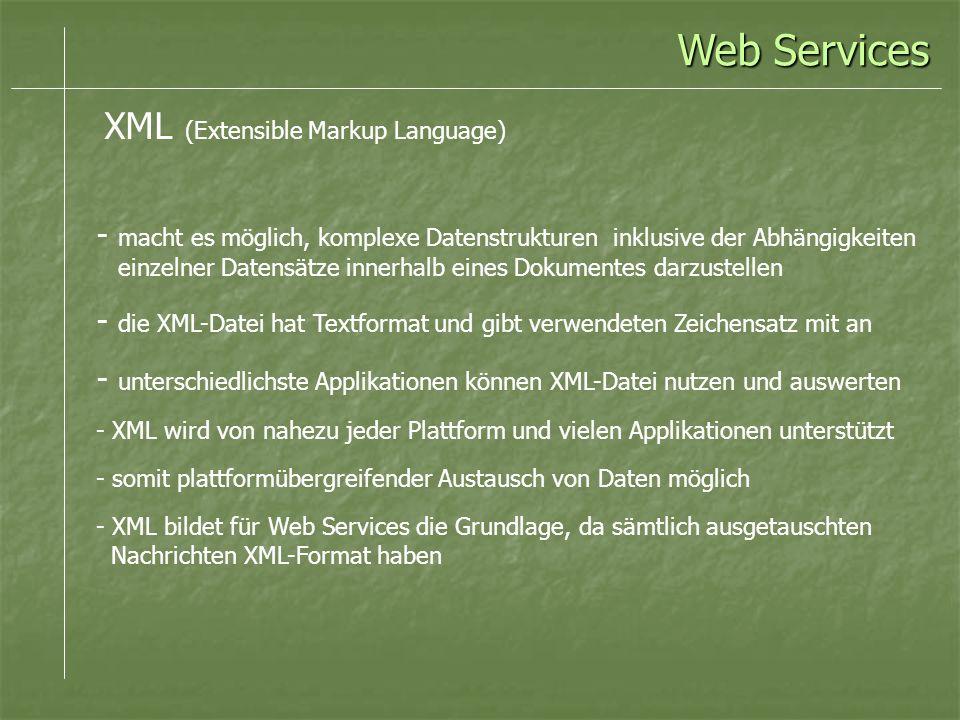 Web Services XML (Extensible Markup Language)