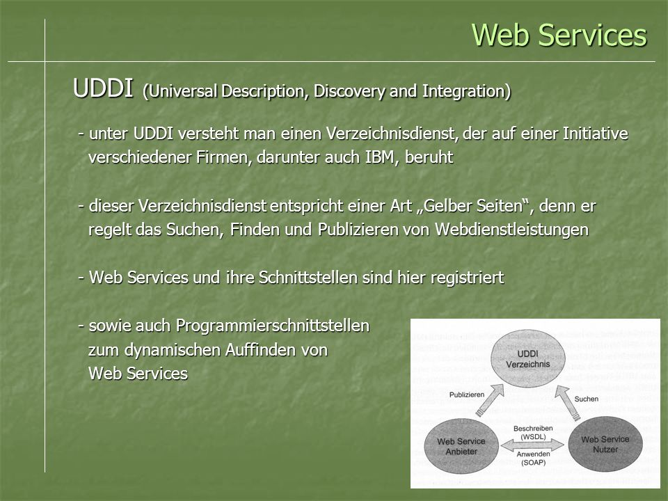 Web Services UDDI (Universal Description, Discovery and Integration)