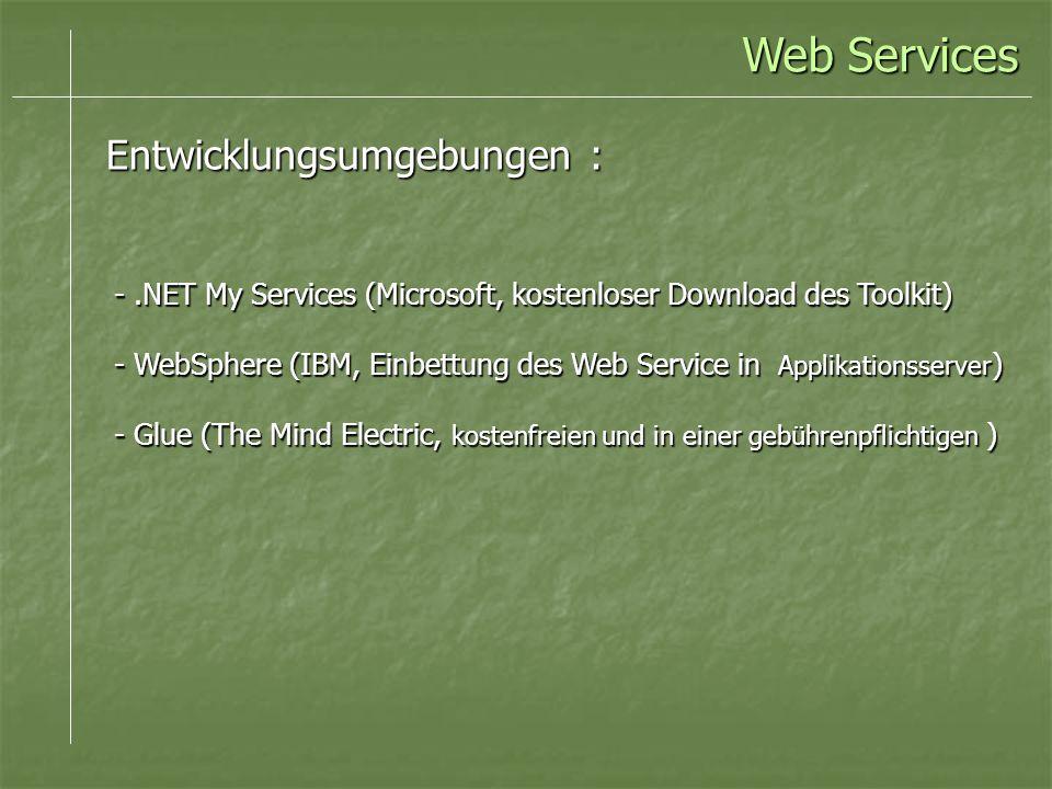 Web Services Entwicklungsumgebungen :