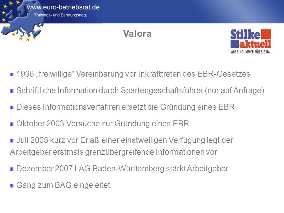 """Valora 1996 """"freiwillige Vereinbarung vor Inkrafttreten des EBR-Gesetzes. Schriftliche Information durch Spartengeschäftsführer (nur auf Anfrage)"""