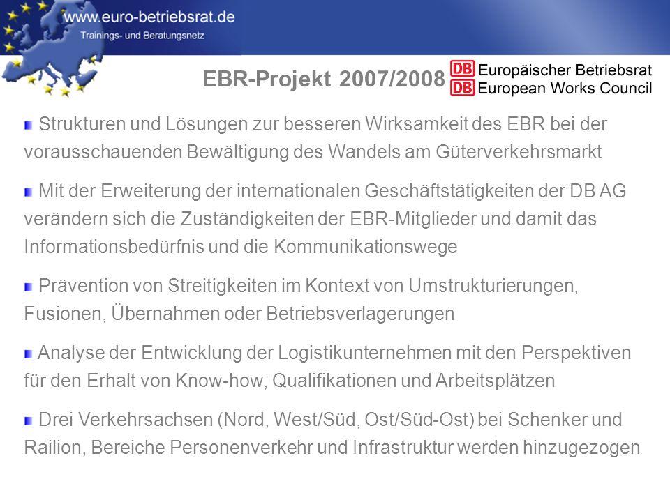 EBR-Projekt 2007/2008 Strukturen und Lösungen zur besseren Wirksamkeit des EBR bei der vorausschauenden Bewältigung des Wandels am Güterverkehrsmarkt.