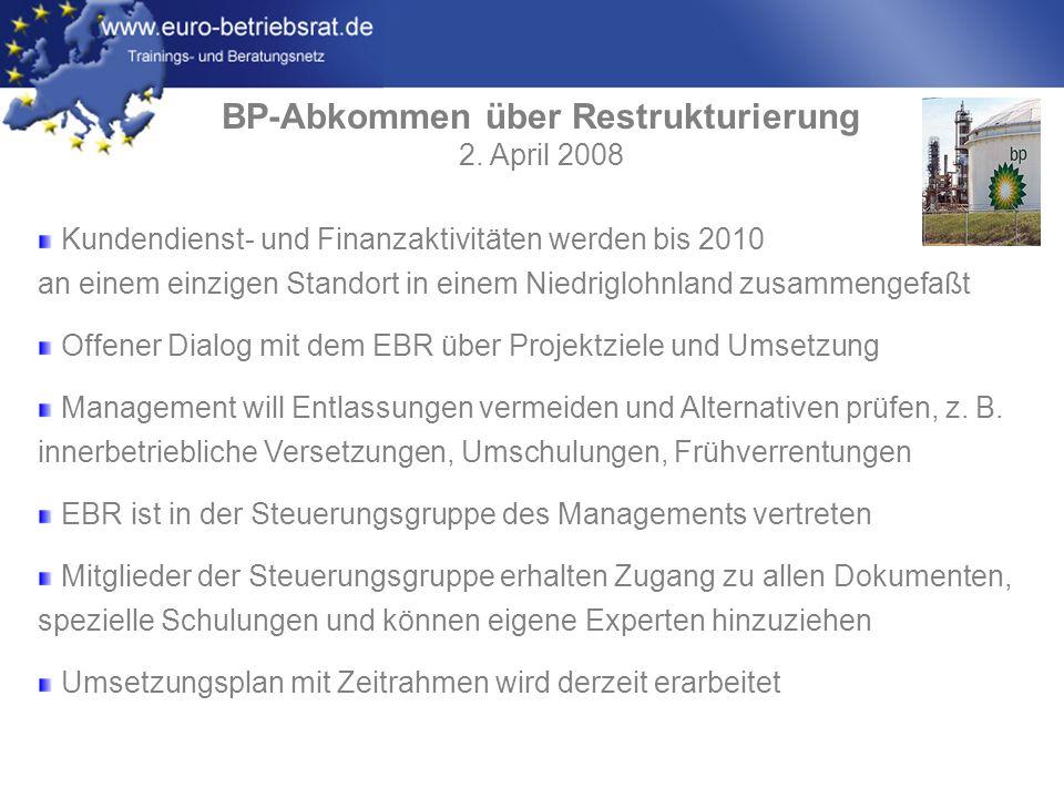BP-Abkommen über Restrukturierung