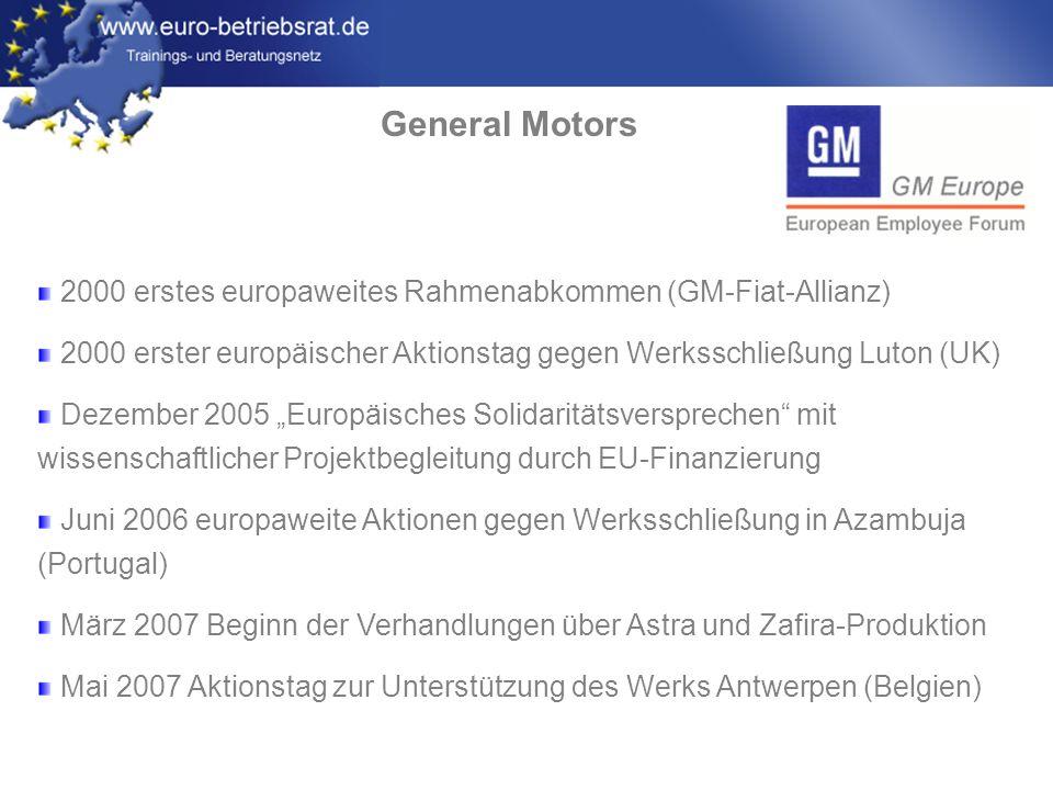 General Motors 2000 erstes europaweites Rahmenabkommen (GM-Fiat-Allianz) 2000 erster europäischer Aktionstag gegen Werksschließung Luton (UK)
