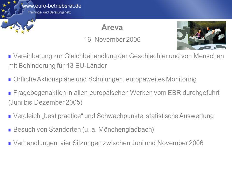 Areva 16. November 2006. Vereinbarung zur Gleichbehandlung der Geschlechter und von Menschen mit Behinderung für 13 EU-Länder.