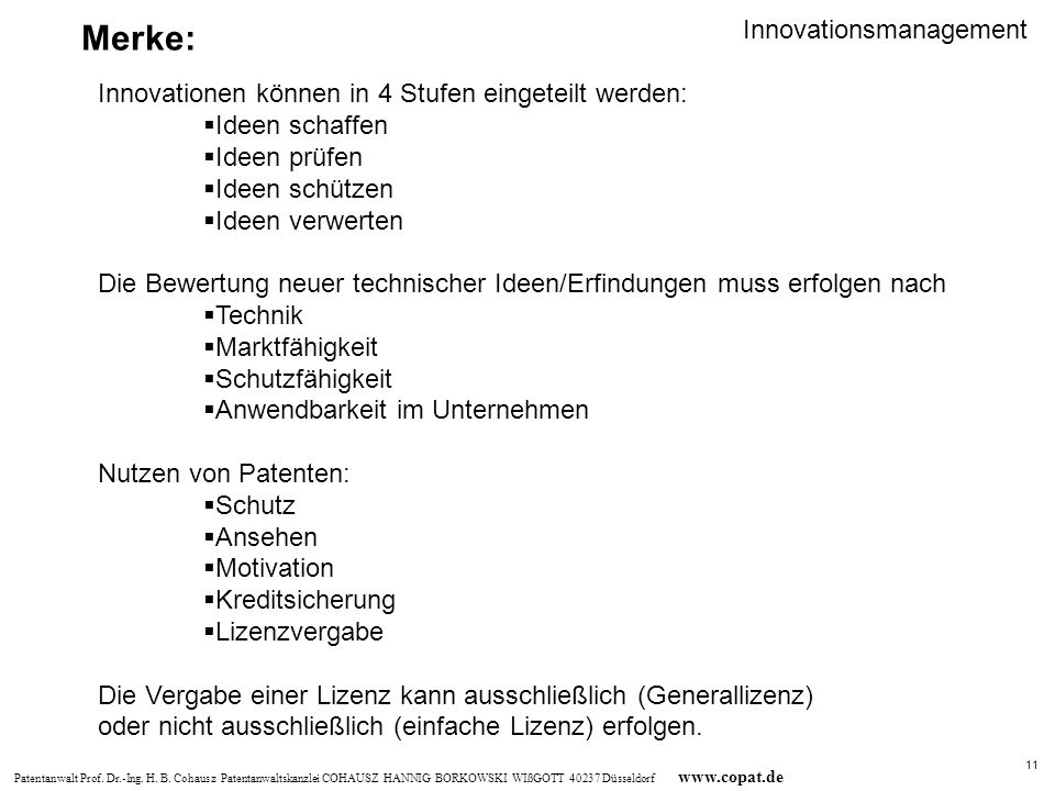 Merke: Innovationsmanagement