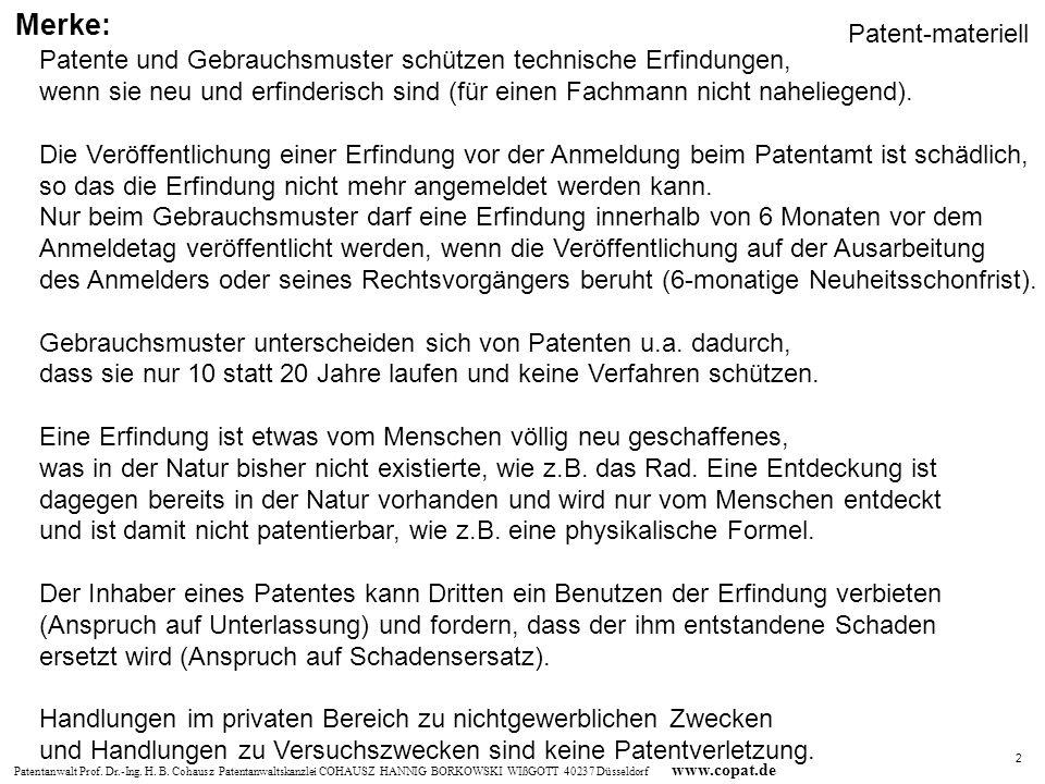 Merke: Patent-materiell