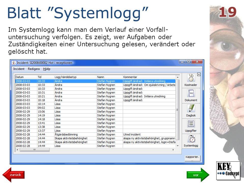Blatt Systemlogg 19.