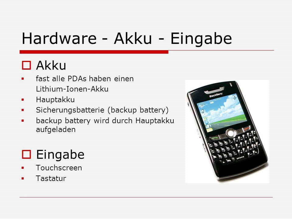 Hardware - Akku - Eingabe