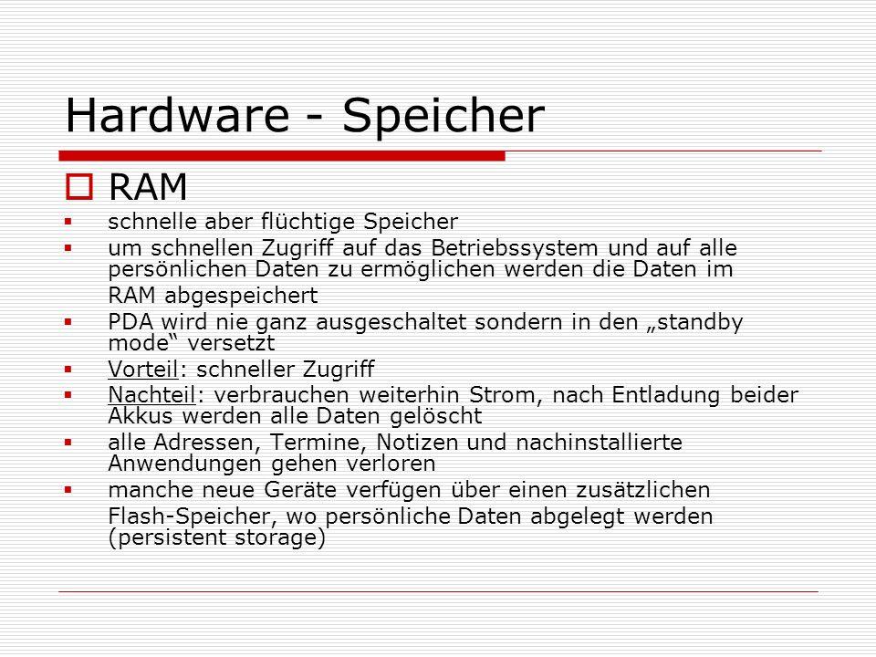 Hardware - Speicher RAM schnelle aber flüchtige Speicher