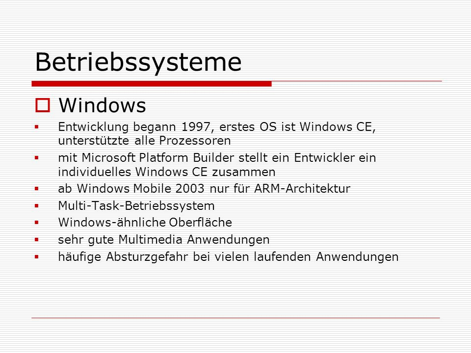 Betriebssysteme Windows