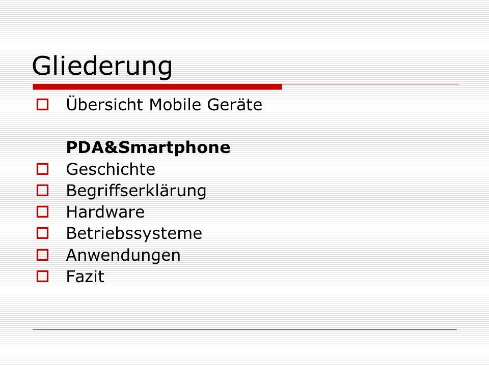 Gliederung Übersicht Mobile Geräte PDA&Smartphone Geschichte