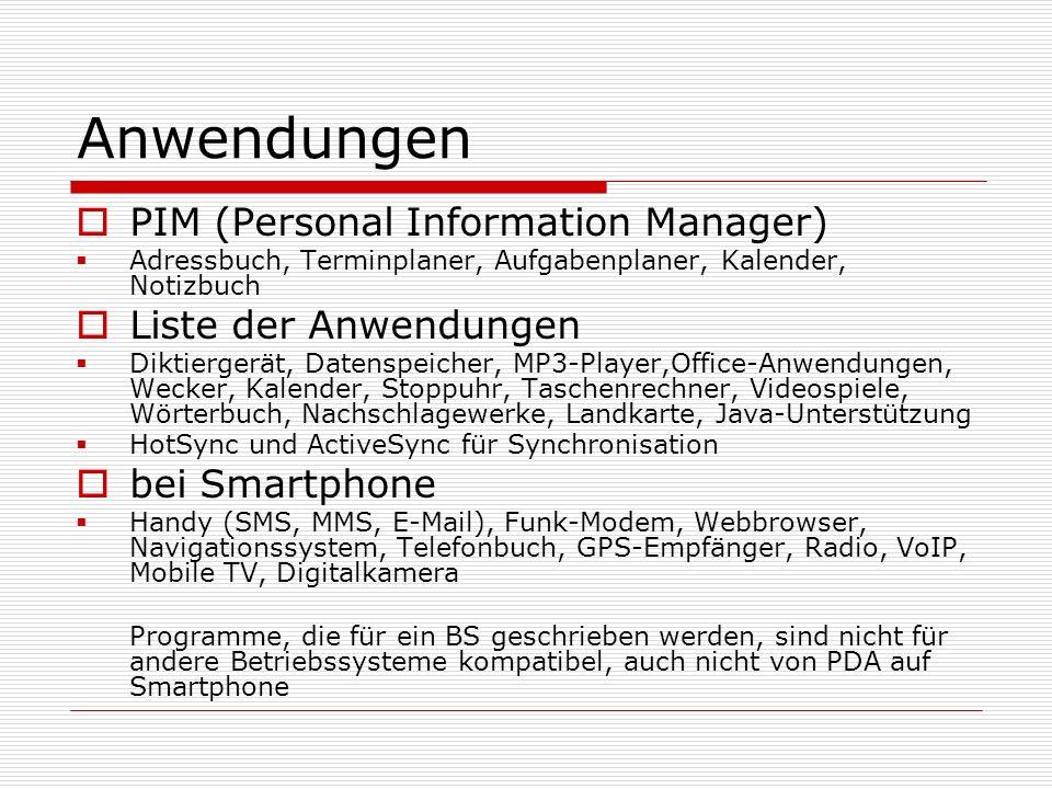 Anwendungen PIM (Personal Information Manager) Liste der Anwendungen