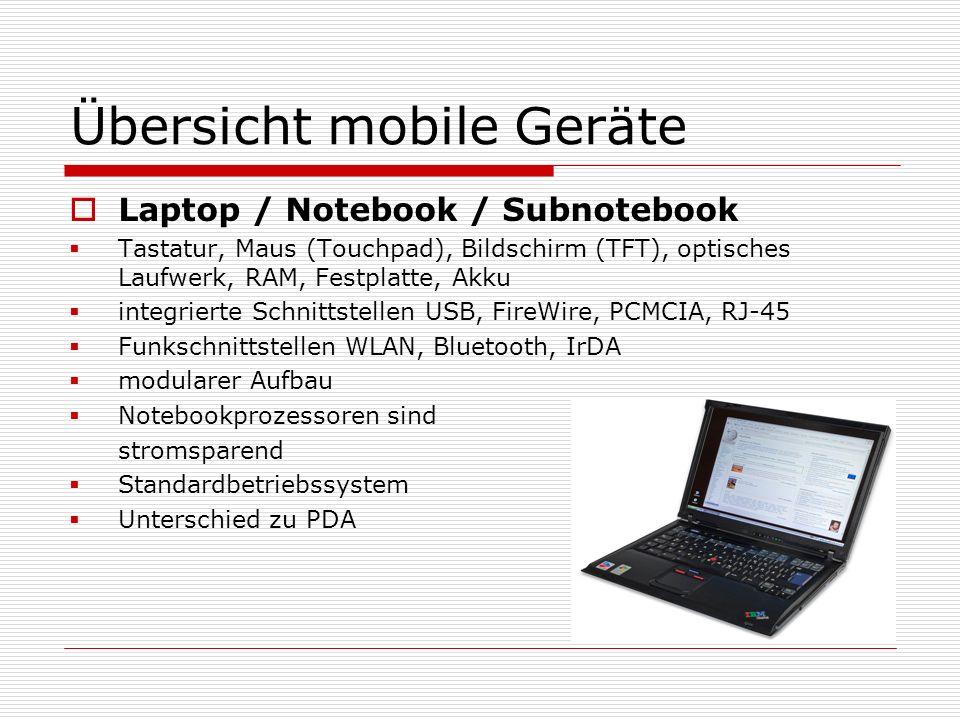 Übersicht mobile Geräte