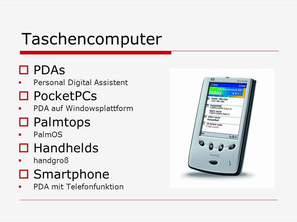 Taschencomputer PDAs PocketPCs Palmtops Handhelds Smartphone
