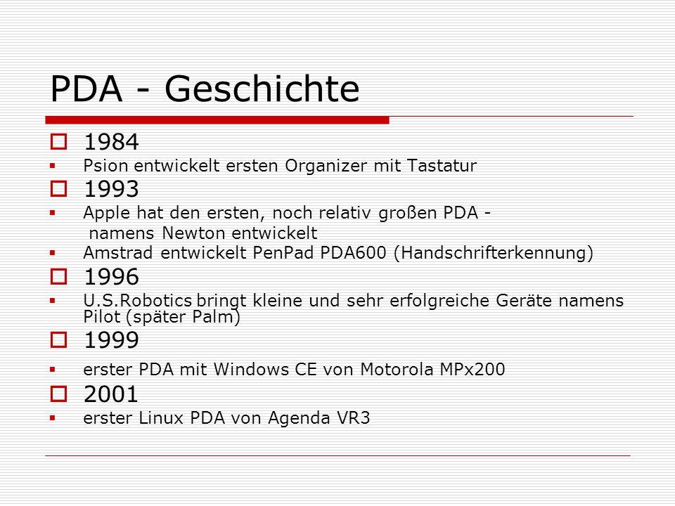 PDA - Geschichte1984. Psion entwickelt ersten Organizer mit Tastatur. 1993. Apple hat den ersten, noch relativ großen PDA -