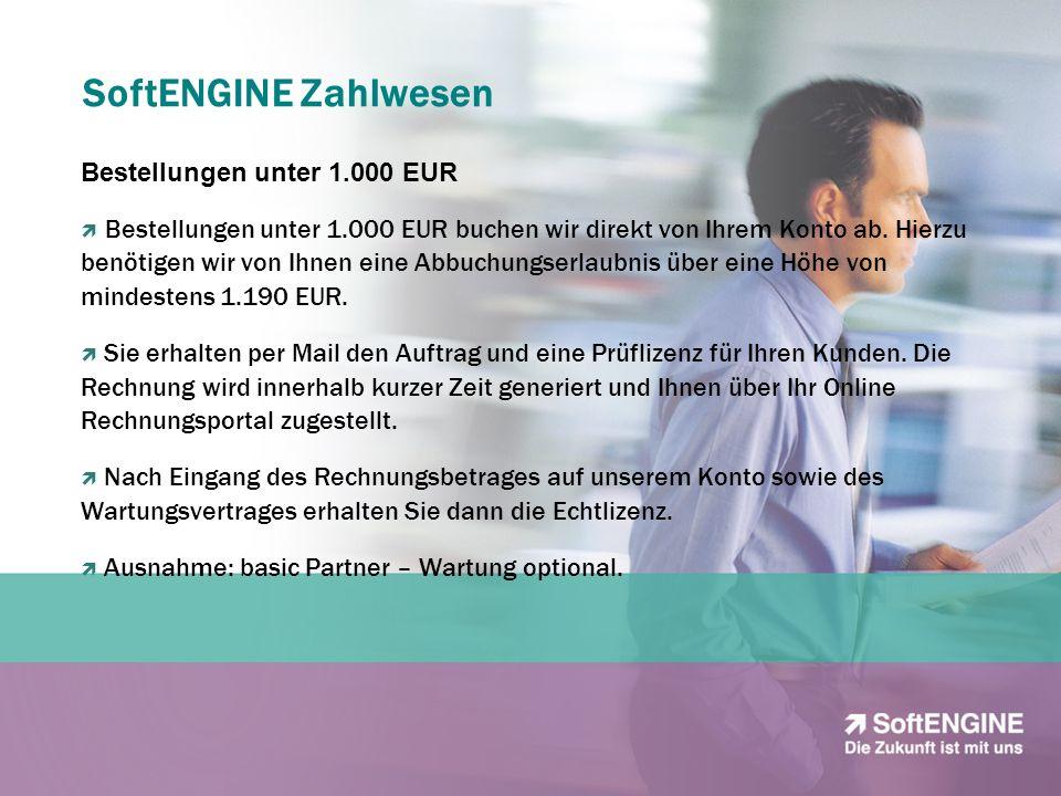 SoftENGINE Zahlwesen Bestellungen unter 1.000 EUR