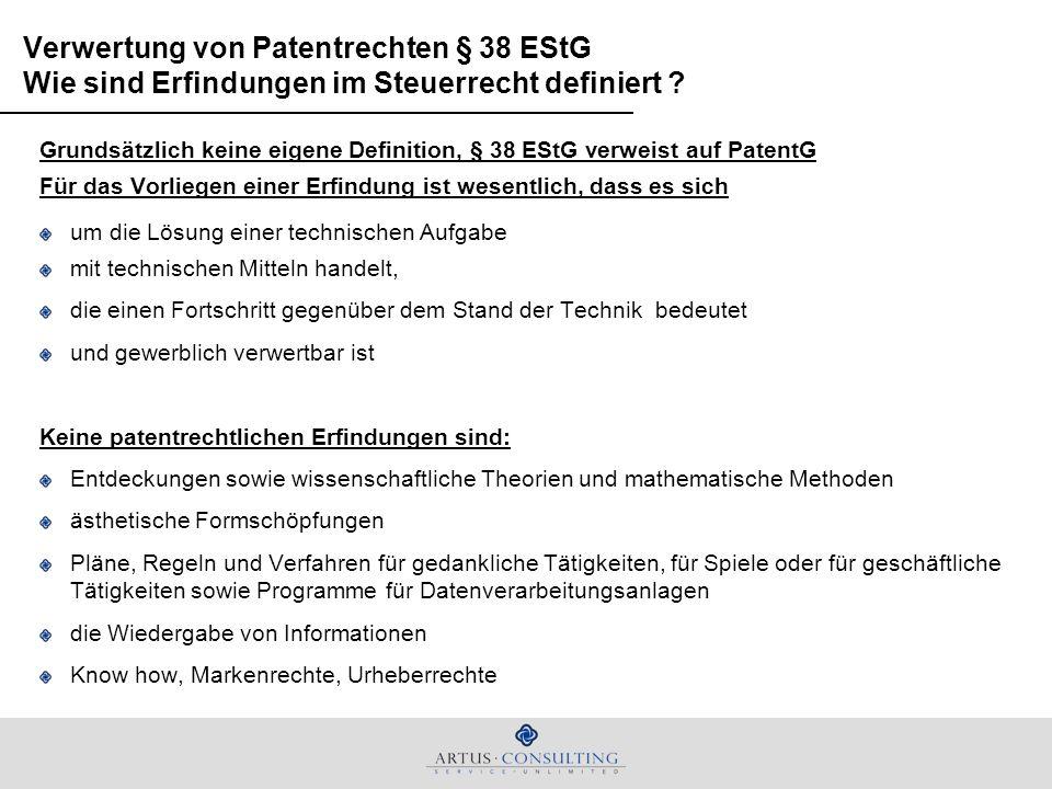 Verwertung von Patentrechten § 38 EStG Wie sind Erfindungen im Steuerrecht definiert