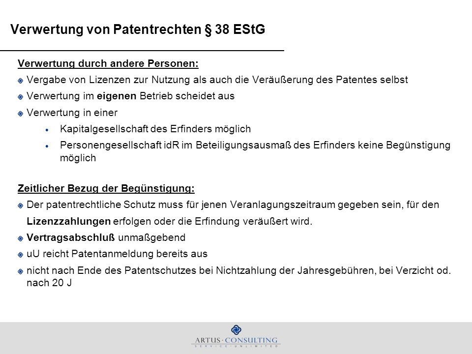 Verwertung von Patentrechten § 38 EStG