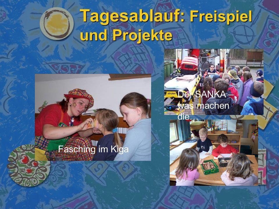 Tagesablauf: Freispiel und Projekte