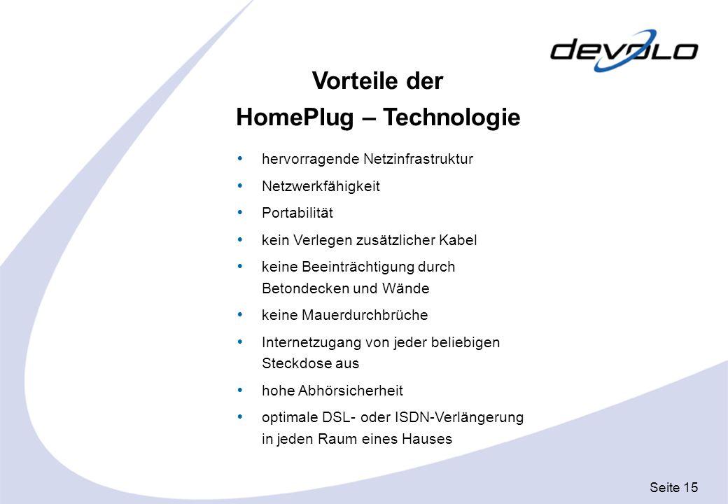 Vorteile der HomePlug – Technologie