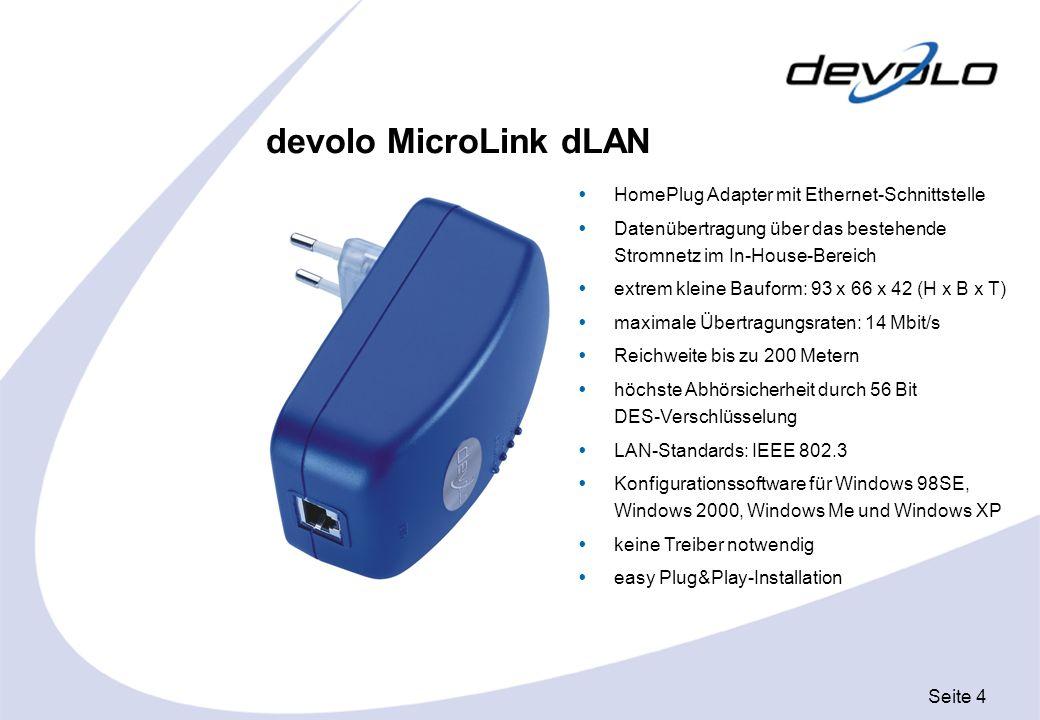 devolo MicroLink dLAN HomePlug Adapter mit Ethernet-Schnittstelle