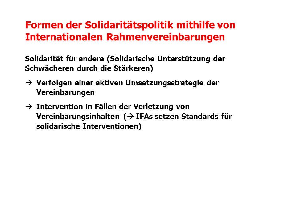 Formen der Solidaritätspolitik mithilfe von Internationalen Rahmenvereinbarungen