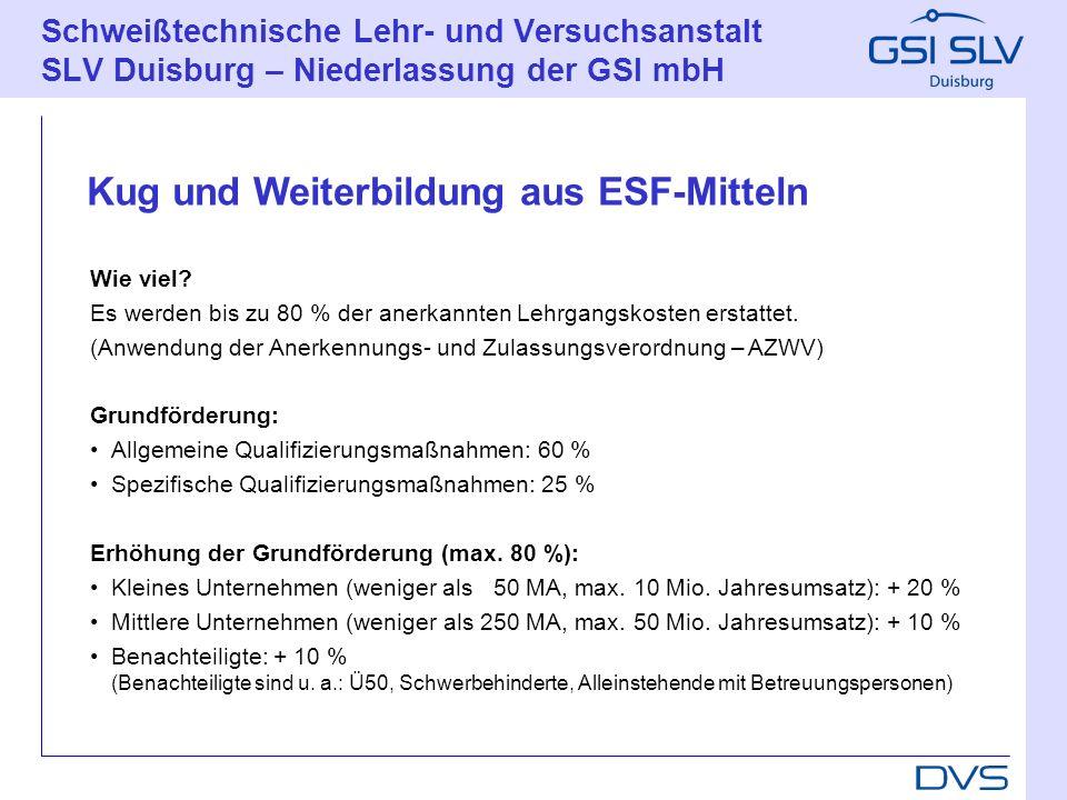Kug und Weiterbildung aus ESF-Mitteln