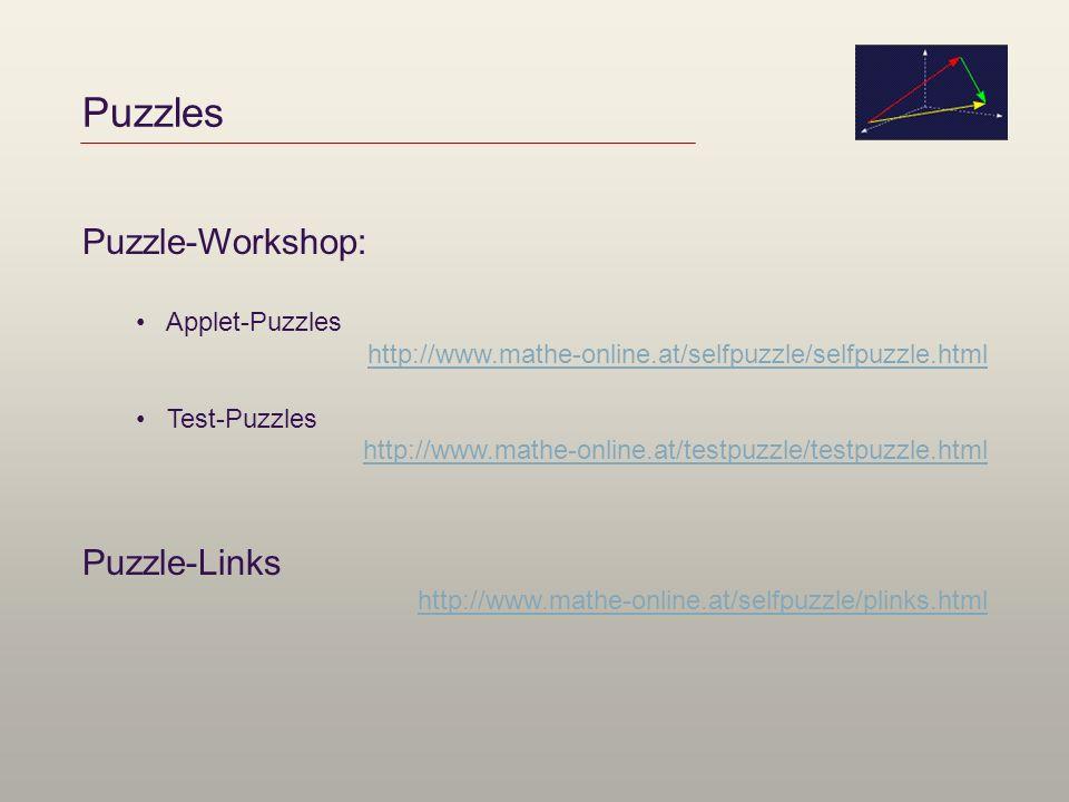 Puzzles Puzzle-Workshop: Puzzle-Links Applet-Puzzles