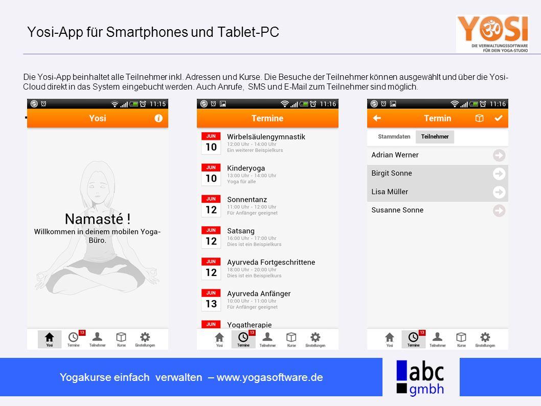 Yosi-App für Smartphones und Tablet-PC