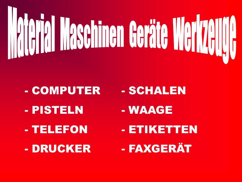 Material Maschinen Geräte Werkzeuge