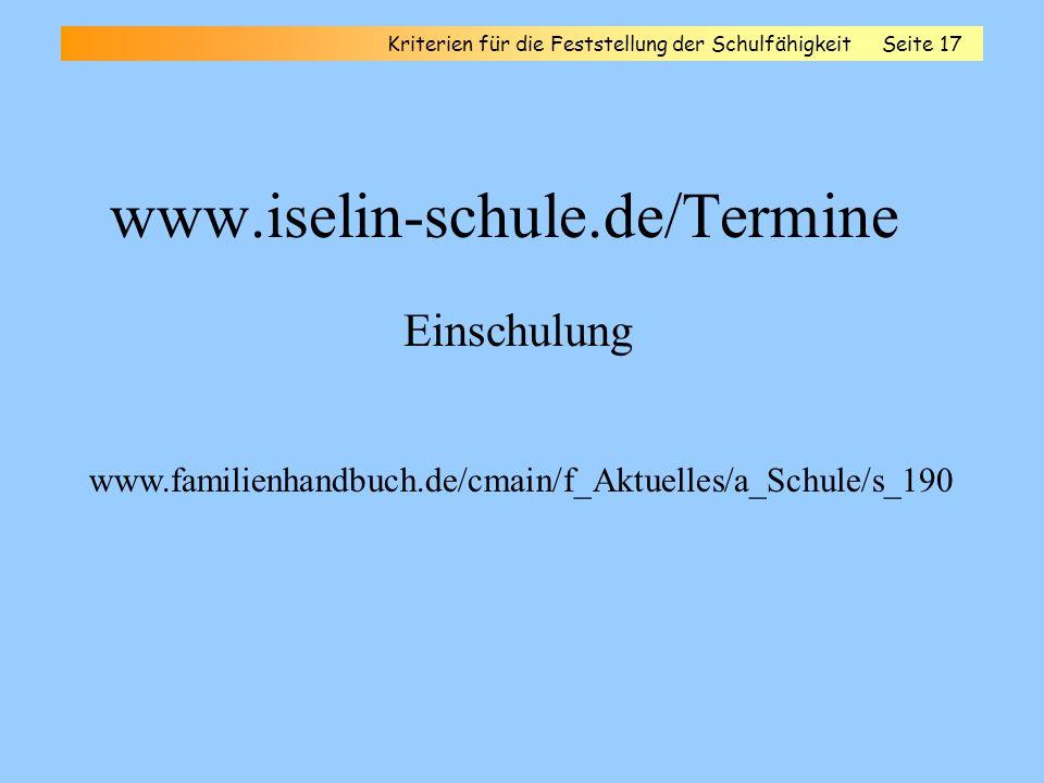 www.iselin-schule.de/Termine Einschulung