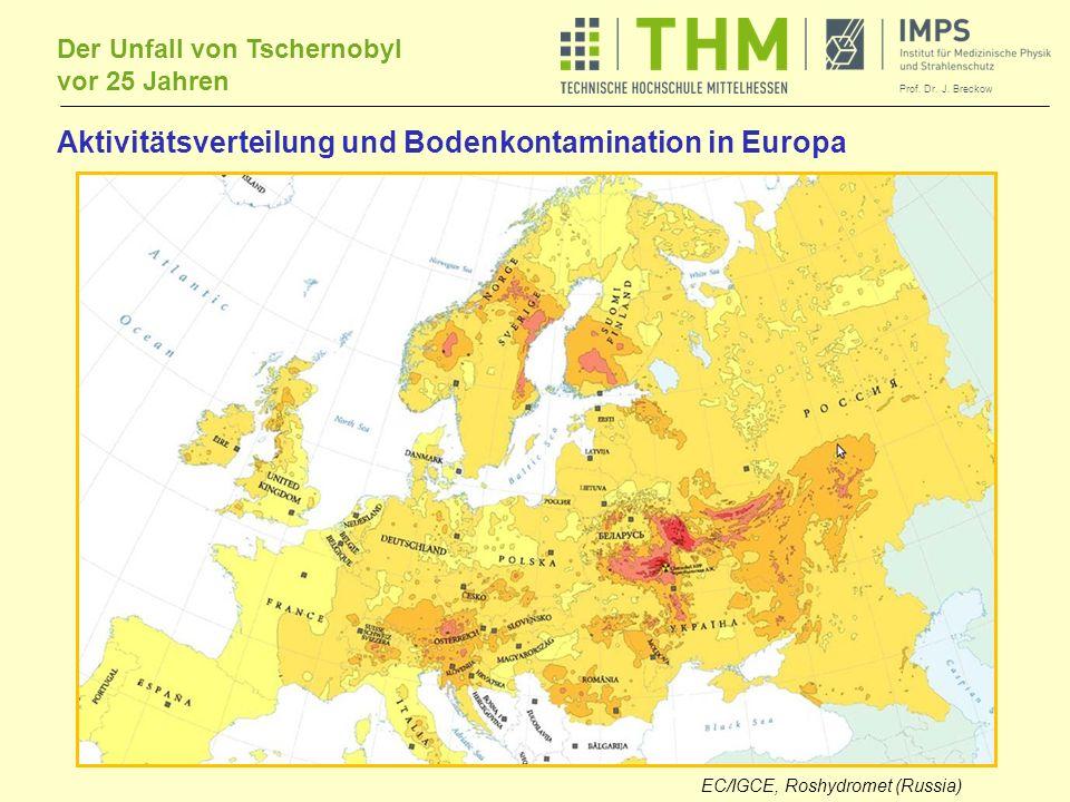 Aktivitätsverteilung und Bodenkontamination in Europa