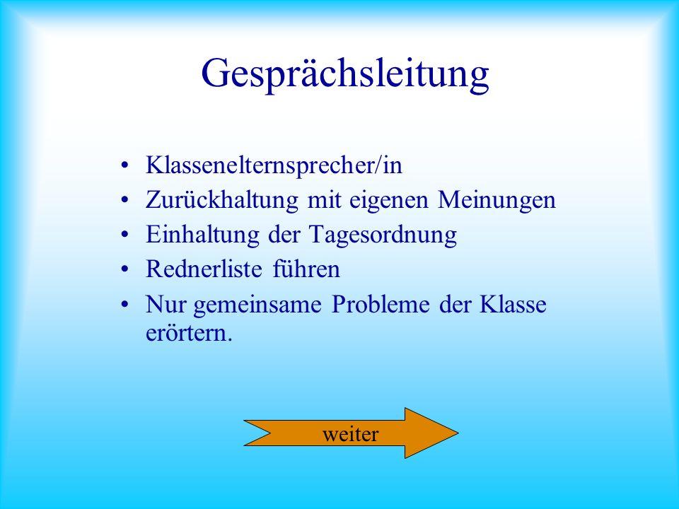 Gesprächsleitung Klassenelternsprecher/in