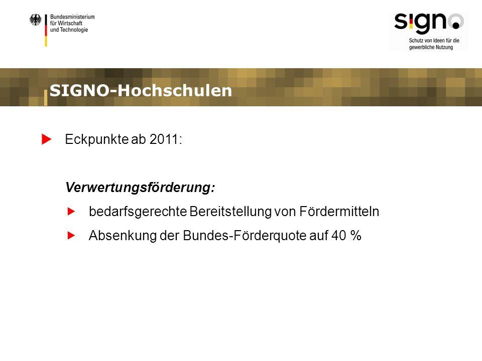 SIGNO-Hochschulen Eckpunkte ab 2011: Verwertungsförderung: