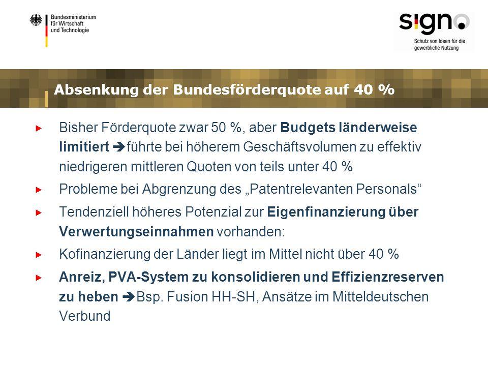 Absenkung der Bundesförderquote auf 40 %