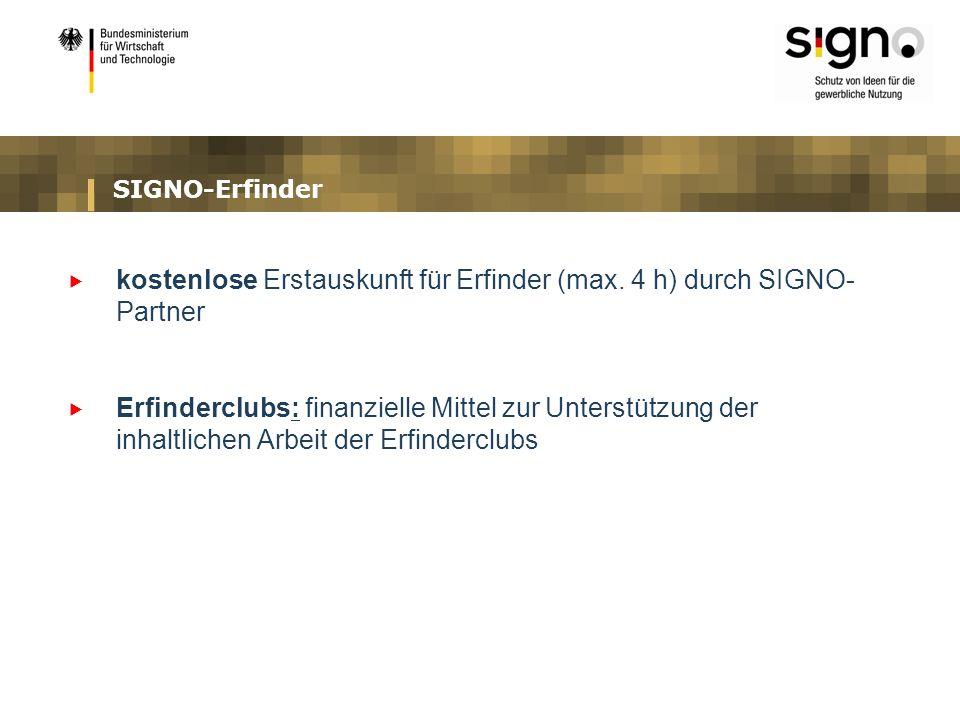 kostenlose Erstauskunft für Erfinder (max. 4 h) durch SIGNO-Partner