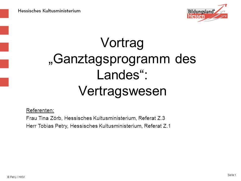 """Vortrag """"Ganztagsprogramm des Landes : Vertragswesen"""