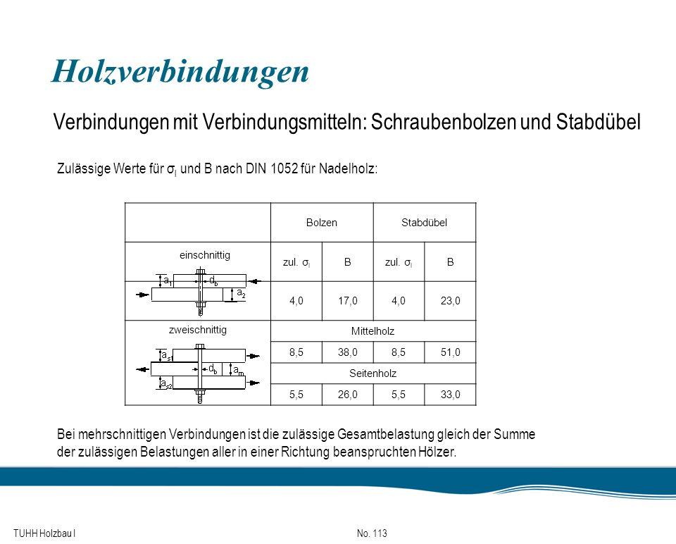 Holzverbindungen Verbindungen mit Verbindungsmitteln: Schraubenbolzen und Stabdübel. Zulässige Werte für σl und B nach DIN 1052 für Nadelholz: