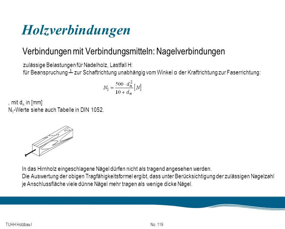 Holzverbindungen Verbindungen mit Verbindungsmitteln: Nagelverbindungen. zulässige Belastungen für Nadelholz, Lastfall H: