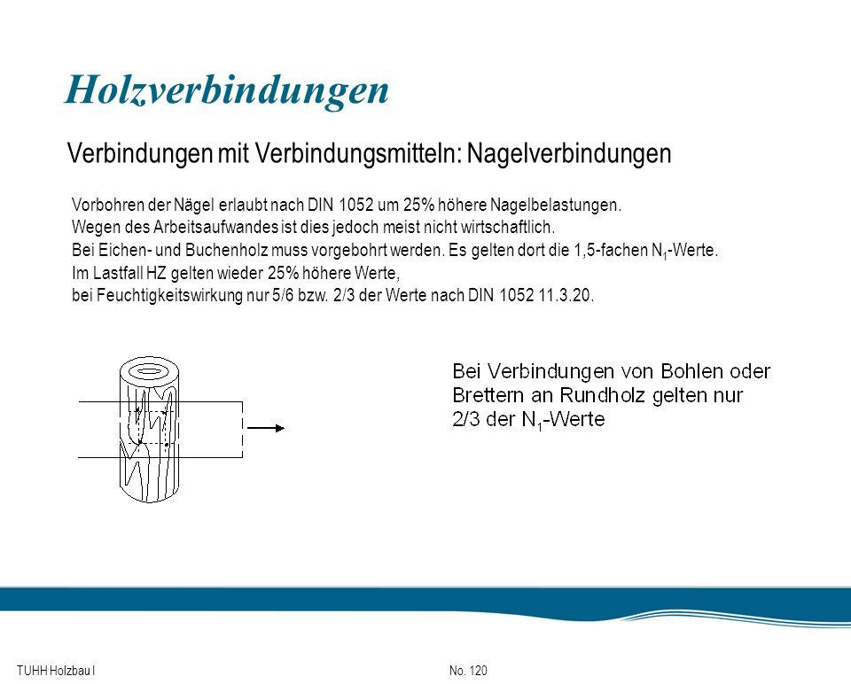 Holzverbindungen Verbindungen mit Verbindungsmitteln: Nagelverbindungen. Vorbohren der Nägel erlaubt nach DIN 1052 um 25% höhere Nagelbelastungen.